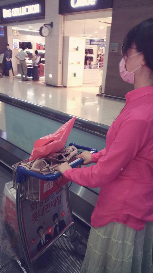 第5天回国在仁川机场,自己推行李